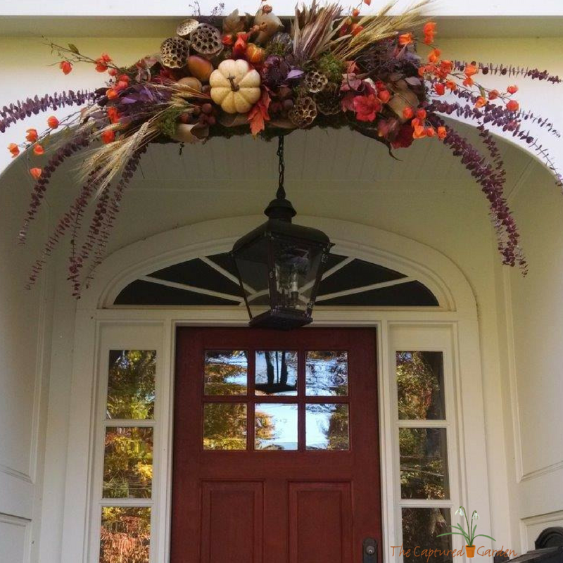 entry topper, fall harvest theme door, garden design