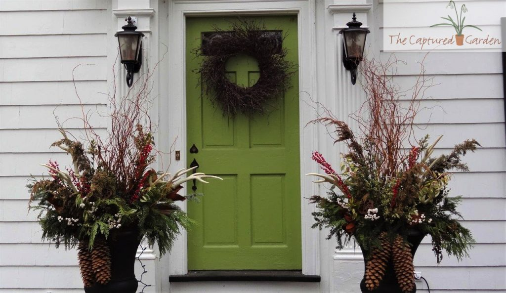 winter garden containers and wreath