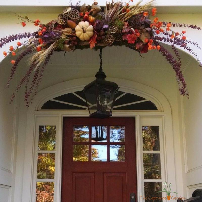 entry topper, fall harvest theme door, garden design