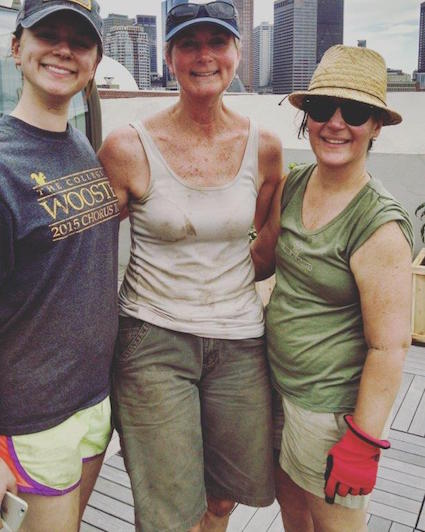 Boston Rooftop Garden planting crew